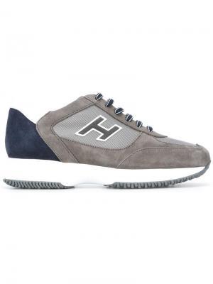 Кеды на шнуровке Hogan. Цвет: серый