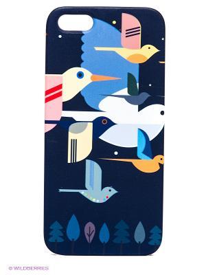 Чехол для IPhone 5 Птицы на темно-синем Mitya Veselkov. Цвет: темно-синий, белый, желтый, оранжевый, розовый