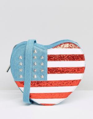 Skinnydip Сумка через плечо в форме сердца с отделкой под американский флаг Skin. Цвет: мульти