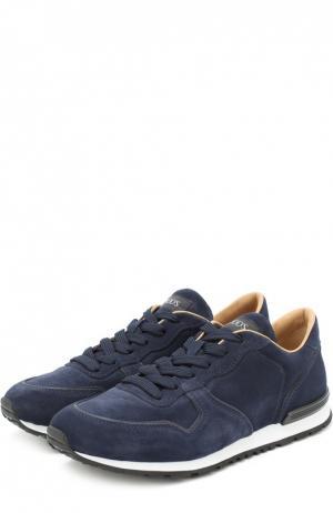 Замшевые кроссовки на шнуровке Tod's. Цвет: темно-синий