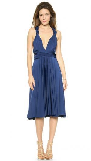 Платье-трансформер до колен Twobirds. Цвет: темно-синий