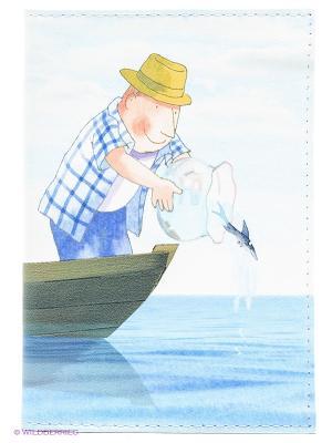 Обложка для автодокументов Добрый рыбак Mitya Veselkov. Цвет: голубой