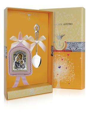 Набор детский Ангел-Хранитель (ложка + икона) розовый футляр АргентА. Цвет: серебристый, розовый