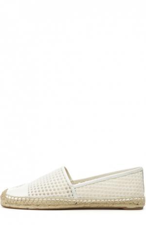 Кружевные эспадрильи с кожаным мысом Tory Burch. Цвет: белый