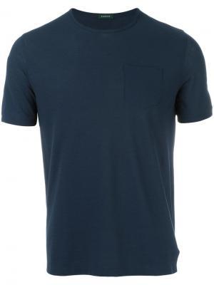 Футболка с нагрудным карманом Zanone. Цвет: синий