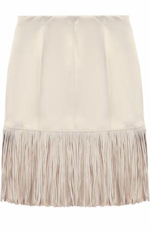 Приталенная юбка из эко-замши с бахромой Monnalisa. Цвет: бежевый