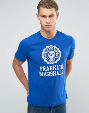 Franklin & Marshall Футболка с крупным логотипом and. Цвет: синий
