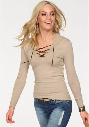 Пуловер MELROSE. Цвет: бежевый