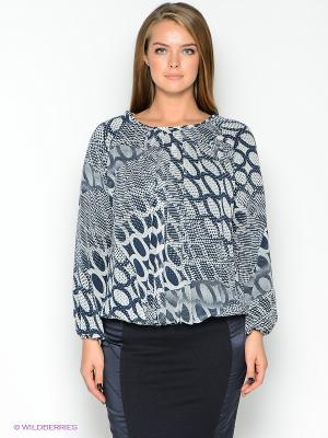 Блузка TOPSANDTOPS. Цвет: белый, темно-синий