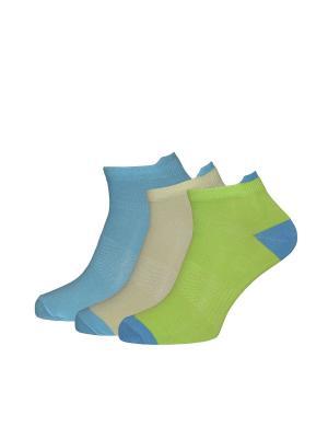 Носки, 3 пары HOSIERY. Цвет: зеленый, голубой, желтый
