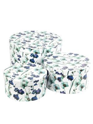 Коробка картонная, набор из 3 шт. 20х20х10- 30х30х15 см. Ирисы. VELD-CO. Цвет: светло-зеленый, белый, светло-голубой