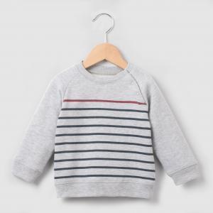 Пуловер в полоску, 1 мес. - 3 года R essentiel. Цвет: серый меланж в полоску