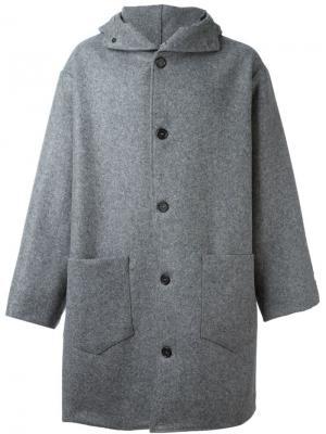 Пальто с капюшоном Cini. Цвет: серый