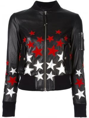 Куртка-бомбер с заплатками в форме звезд Htc Hollywood Trading Company. Цвет: чёрный