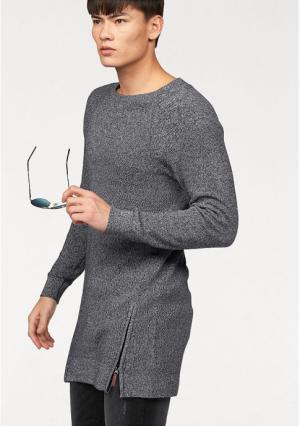 Удлиненный пуловер JOHN DEVIN. Цвет: черный/белый меланжевый