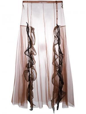 Длинная юбка из тюля с высокой талией Toga. Цвет: коричневый