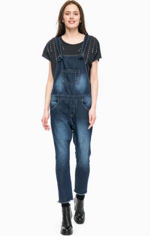 Синий джинсовый комбинезон с брюками ONE TEASPOON. Цвет: синий