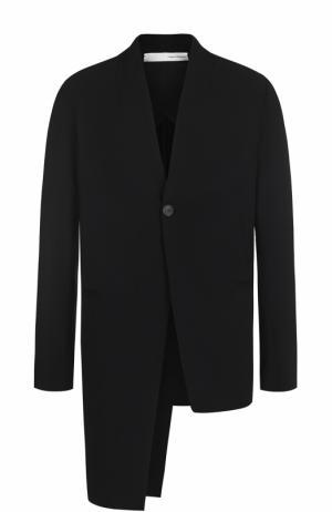 Пиджак ассиметричного кроя из смеси вискозы и шерсти Isabel Benenato. Цвет: черный