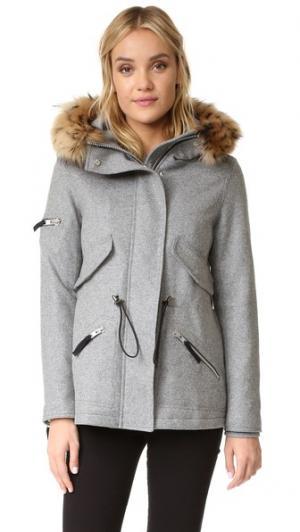Короткое шерстяное пальто Delancey SAM.. Цвет: серый меланж/натуральный