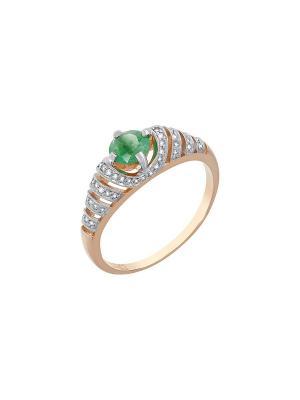 Кольцо с бриллиантом и изумрудом Магия Золота. Цвет: золотистый