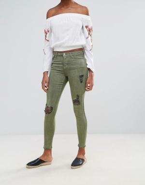 Urban Bliss Рваные джинсы скинни Jenna. Цвет: зеленый