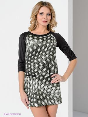 Платье Satin. Цвет: зеленый, белый, черный