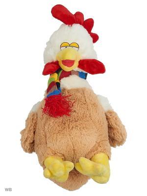 Мягкая игрушка Петушок в полосатом шарфике, 40см А М Дизайн. Цвет: темно-бежевый, красный, горчичный, черный, лазурный