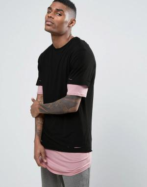 Cayler & Sons Длинная двухслойная футболка. Цвет: черный