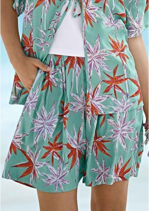 Юбка-шорты Y.O.U.. Цвет: мятно-зеленый с рисунком