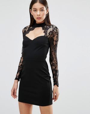 Parisian Платье с кружевным верхом. Цвет: черный