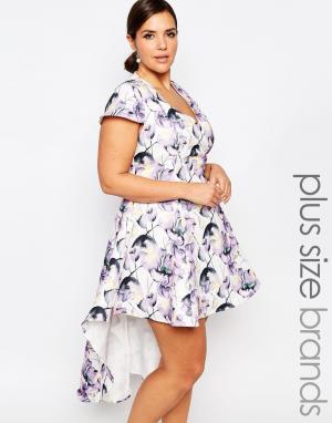 Truly You Платье для выпускного с цветочным принтом и асимметричной кромкой Trul. Цвет: мульти