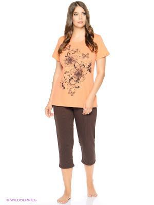Комплект домашней одежды ( футболка, бриджи) HomeLike. Цвет: коричневый, оранжевый