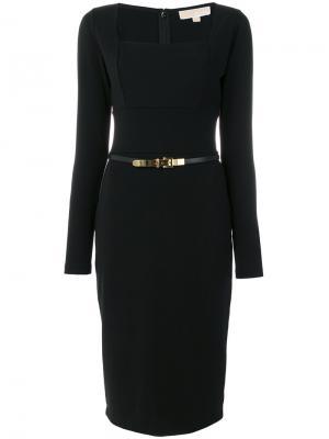 Платье с поясом на талии Michael Kors. Цвет: чёрный