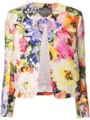 Декорированный пиджак с цветочным принтом Monique Lhuillier. Цвет: многоцветный
