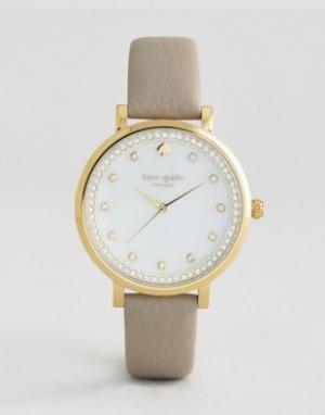 Kate Spade Часы с серым кожаным ремешком New York Monterey. Цвет: серый