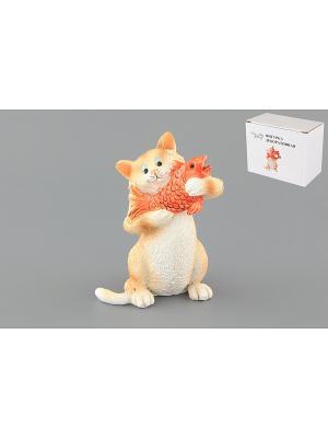 Фигурка декоративная Кот с золотой рыбкой Elan Gallery. Цвет: бежевый, красный