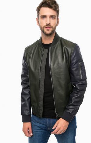 Кожаная куртка с контрастными рукавами Tommy Hilfiger. Цвет: хаки