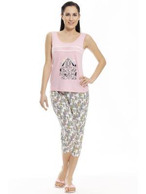 Пижама с капри RELAX MODE. Цвет: розовый, серый