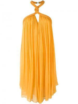Платье  с петлей халтер Jay Ahr. Цвет: жёлтый и оранжевый