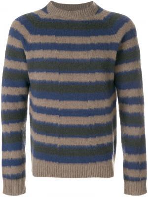 Пуловер с круглым вырезом в полоску Boglioli. Цвет: многоцветный