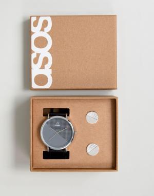 ASOS Подарочный набор с часами и запонками. Цвет: черный