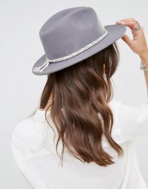 Brixton Фетровая шляпа с контрастной хлопковой лентой. Цвет: серый