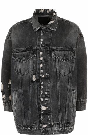 Джинсовая куртка с потертостями R13. Цвет: серый