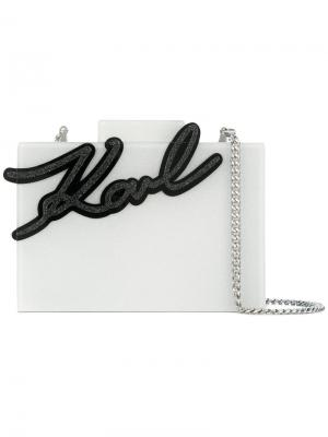 Клатч на цепочке Karl Lagerfeld. Цвет: белый