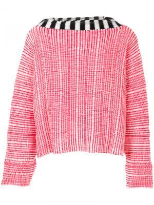 Джемпер с контрастной горловиной Eckhaus Latta. Цвет: розовый и фиолетовый