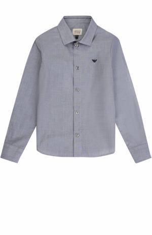 Хлопковая рубашка прямого кроя Armani Junior. Цвет: синий
