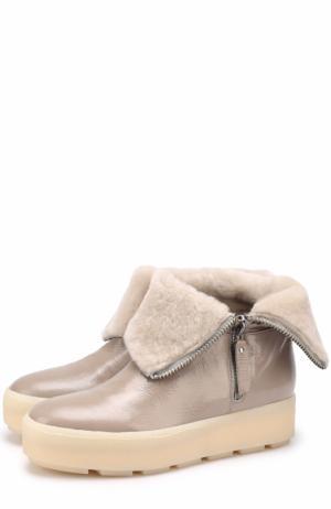 Лаковые ботинки с внутренней меховой отделкой Vic Matie. Цвет: серый