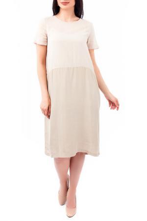 Двухслойное платье с коротким рукавом EUROPEAN CULTURE. Цвет: бежевый