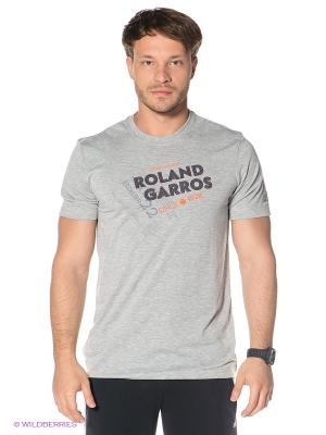 Футболка Adidas. Цвет: серый меланж, оранжевый, темно-синий