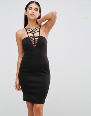 Club L Платье мини с V-образным вырезом и решеткой из лямок. Цвет: черный